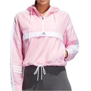 NWT! Adidas Pink Cropped Windbreaker Hoodie Jacket
